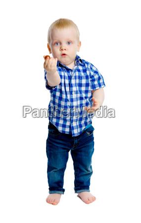 little boy in a plaid shirt