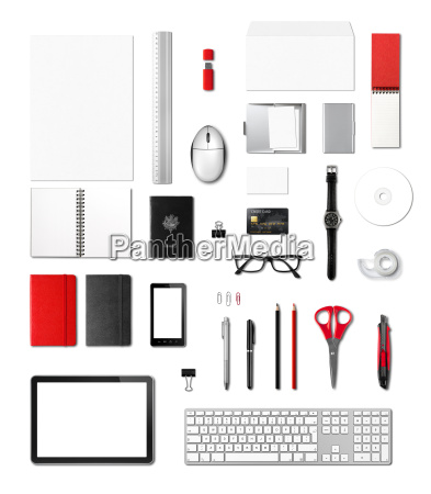 office supplies mockup template white background