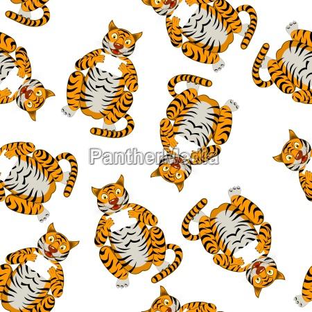 seamless funny cartoon tiger
