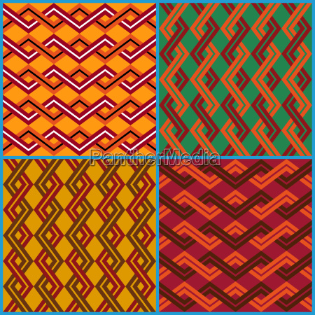 four seamless ornaments on ethnic motifs