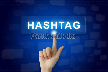 hand press on hashtag button on