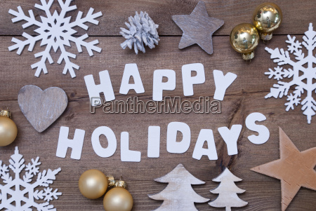 wooden background happy holidays golden christmas