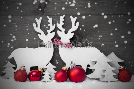 gray christmas decoration reindeer couple snowflakes