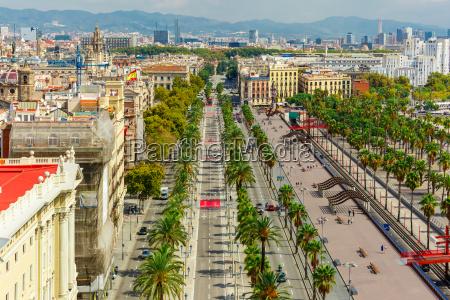 passeig de colom in barcelona catalonia