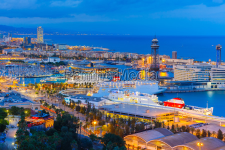 aerial view barcelona at night catalonia
