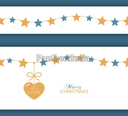 christmas star border and heart the
