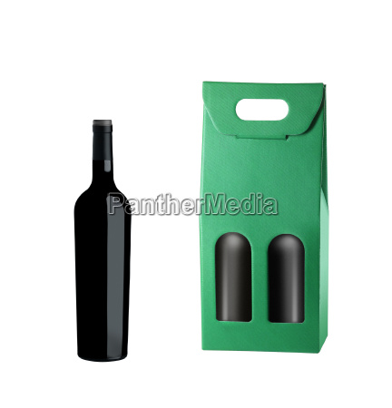 wine package and bottle isolated on