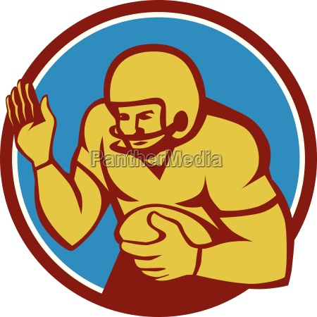 american football player fend off circle