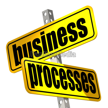 yellow road sign with business processes