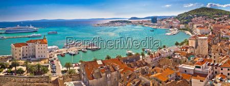 split historic waterfront panoramic aerial view