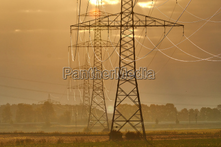 transmission tower in the morning sun