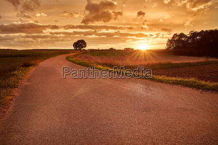 freedom road with sunset