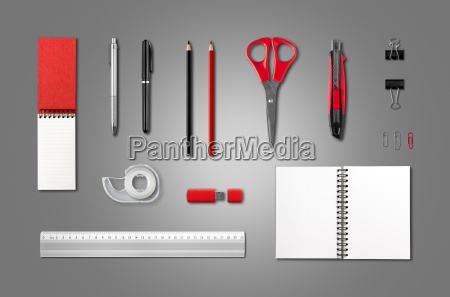 stationery office supplies mockup template anthracite