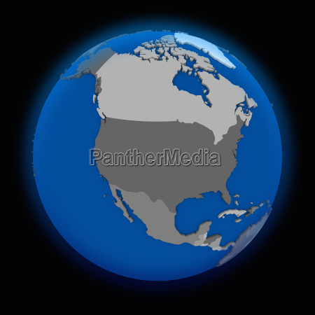 north america on political earth
