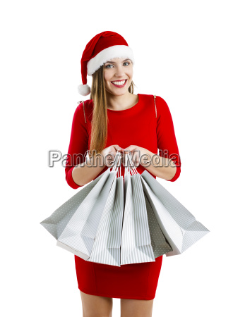 santa woman with shopping bags