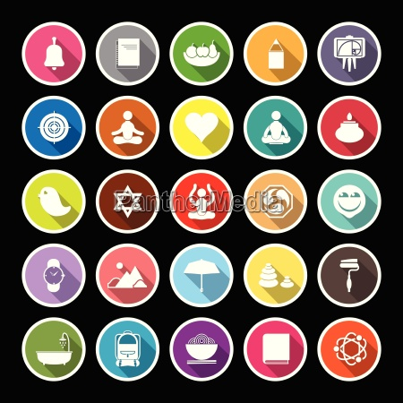 zen society flat icons with long