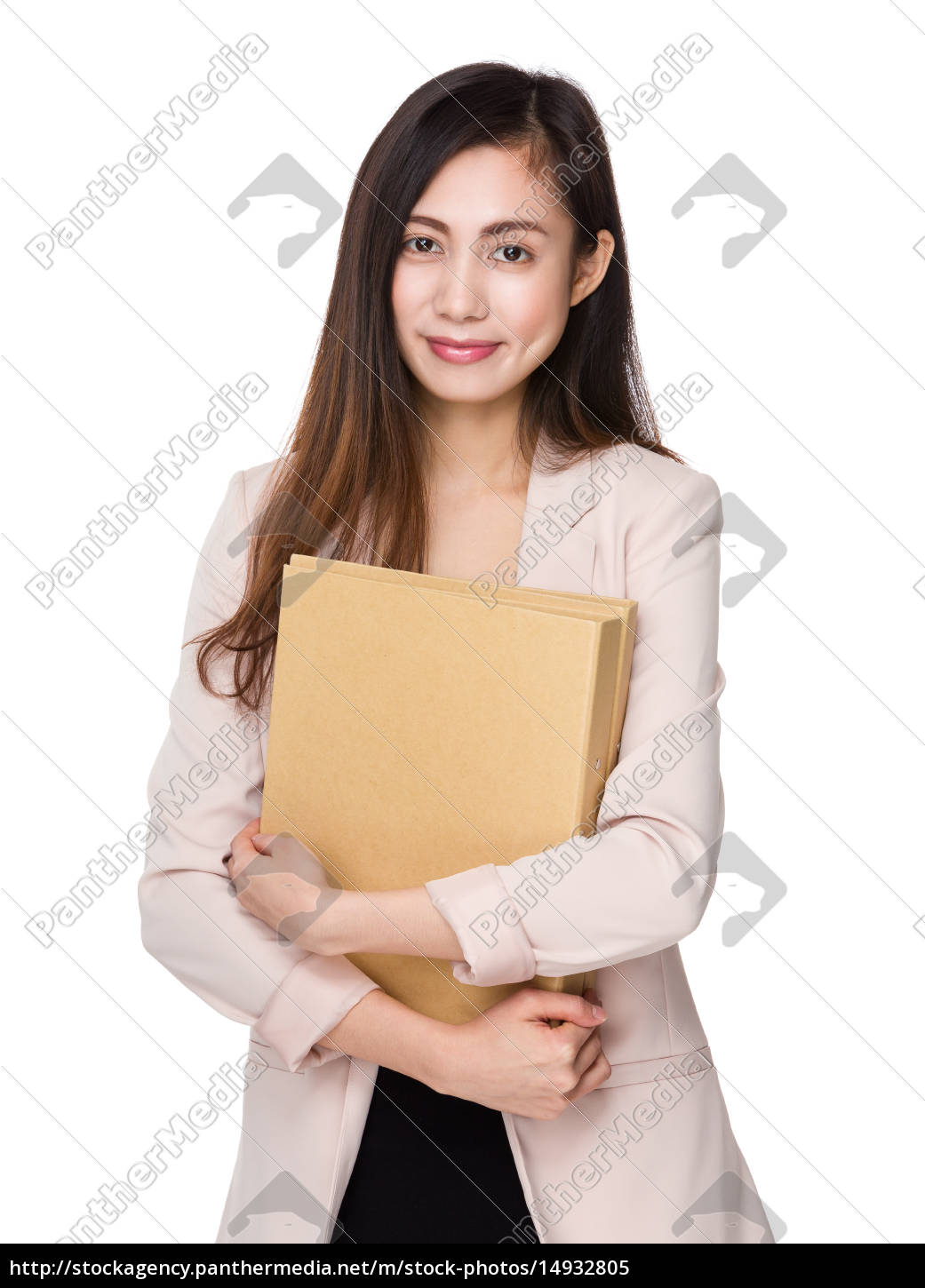 asian, businesswoman, hold, with, document, work - 14932805