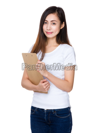 asian, woman, hold, with, clipboard - 14932601