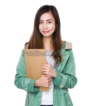young, woman, hold, with, clipboard - 14932647