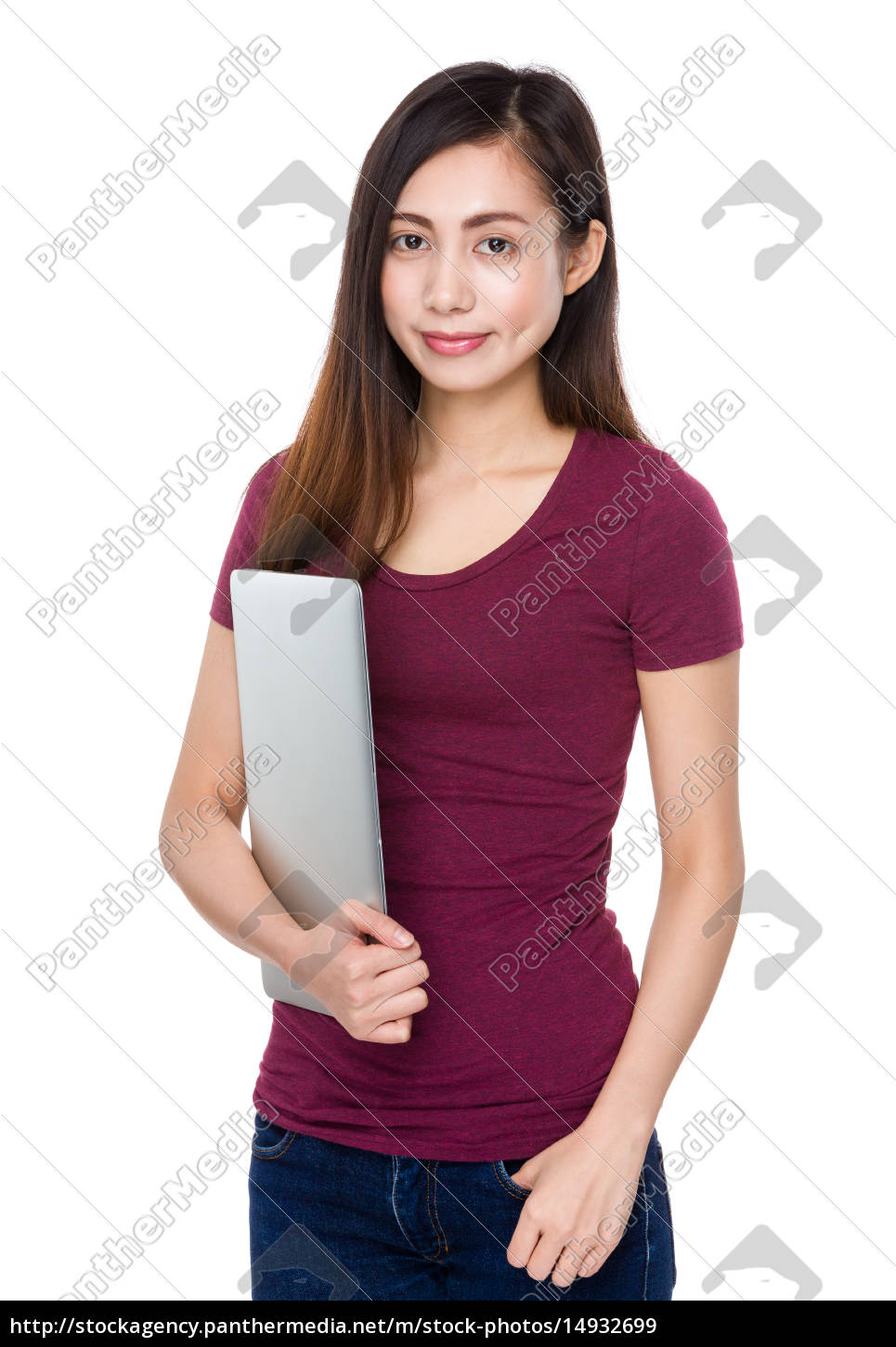 young, woman, hold, with, laptop, computer - 14932699