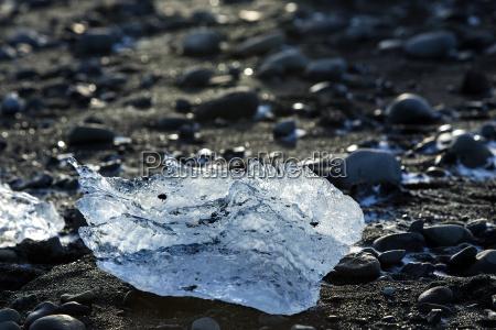 ice block on black sand beach
