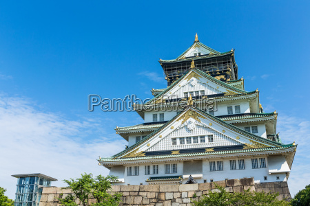 osaka, castle, with, blue, sky - 14934353