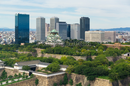 osaka, castle, with, business, building - 14934397