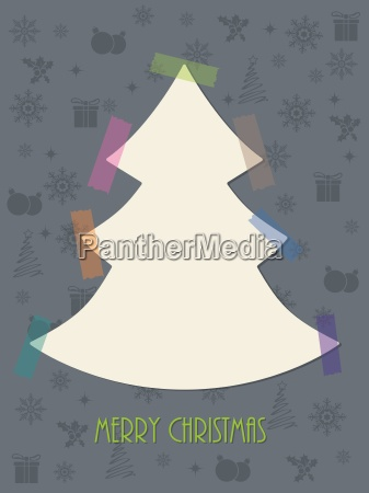 christmas greeting card with color tapes