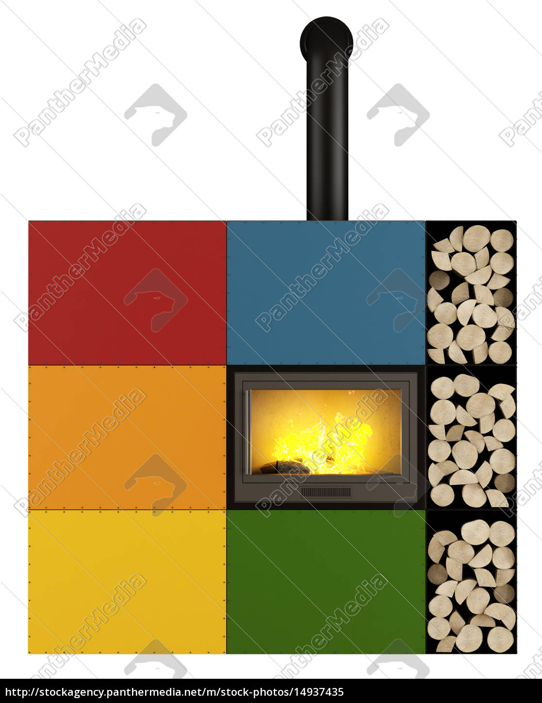 colorful, fireplace, on, white - 14937435