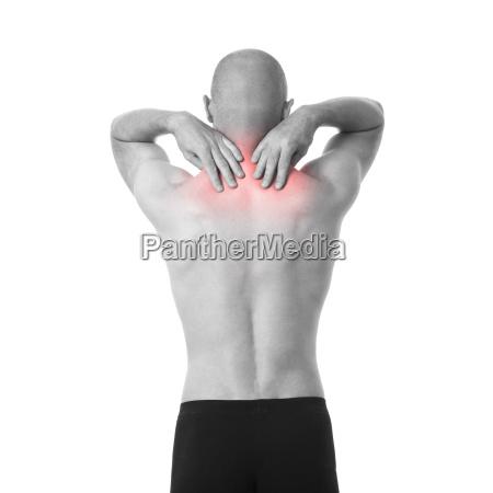 half naked man feeling pain in