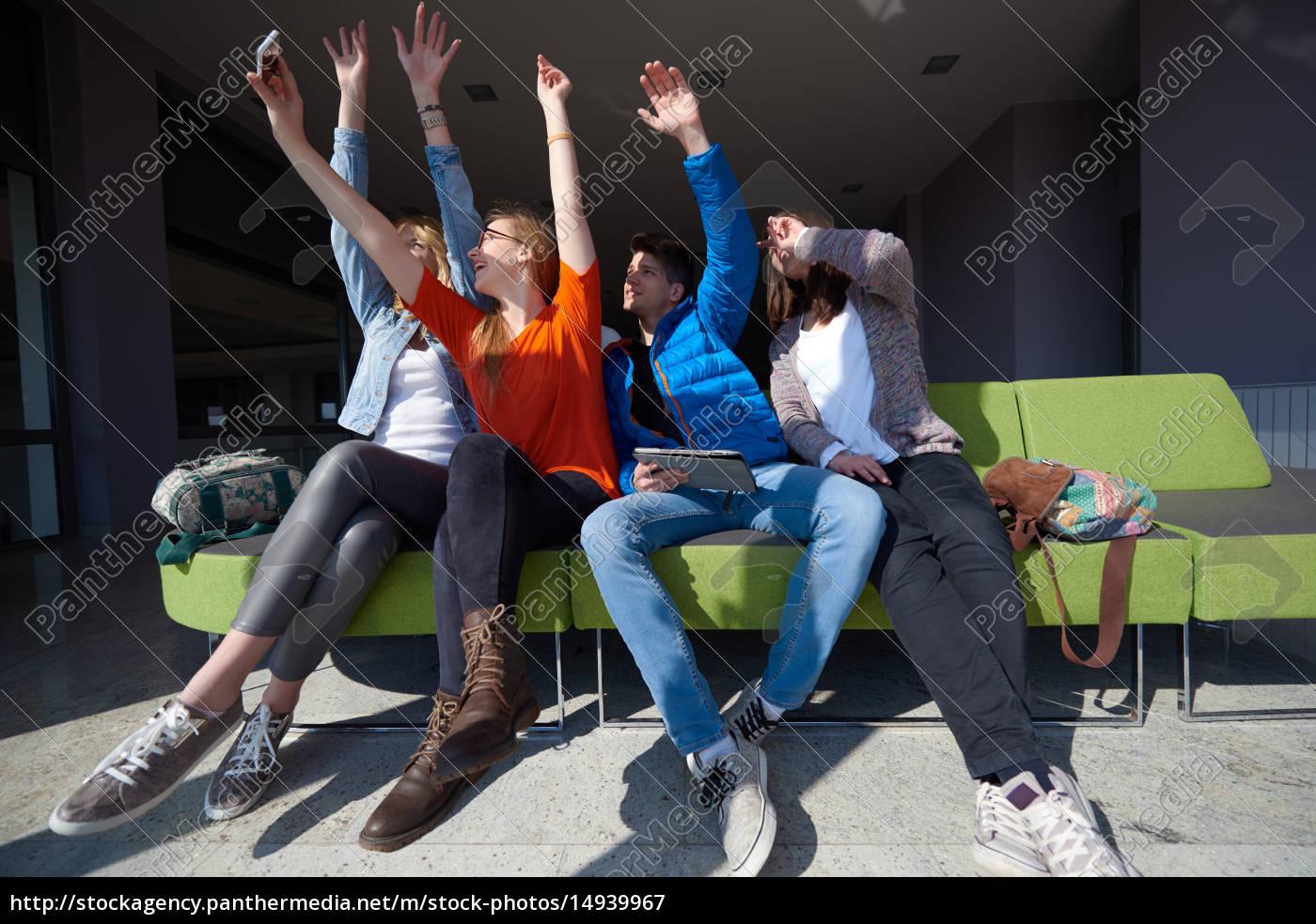 students, group, taking, selfie - 14939967