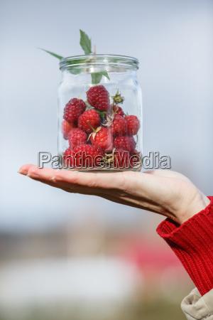 jar of raspberries