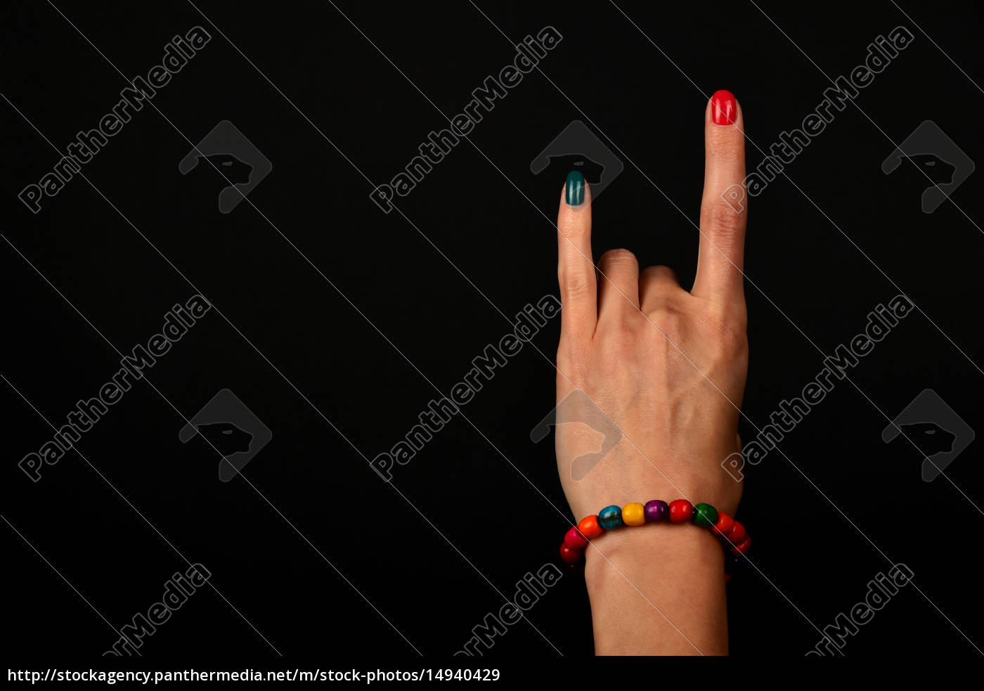 hand, with, devil, horns, and, colorful - 14940429