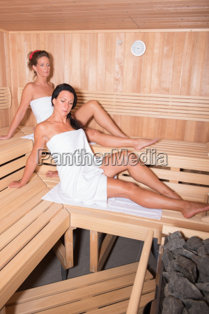 two, attractive, women, in, the, sauna - 14940711