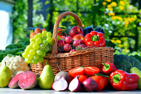 fresh, organic, vegetables, and, fruits, in - 14948209