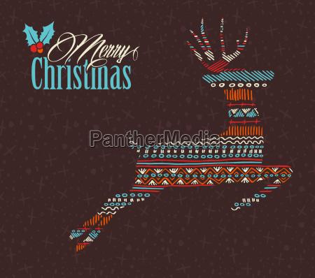 merry christmas reindeer boho tribal stripe