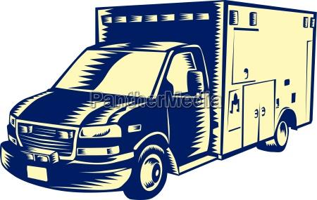 ems ambulance emergency vehicle woodcut