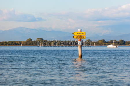 boat sign in the lagoon of