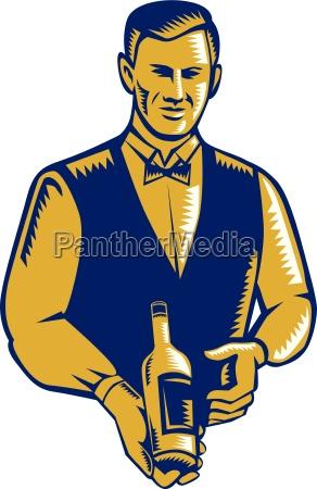 waiter presenting wine bottle woodcut