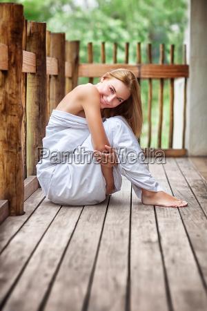 gentle woman on the terrace