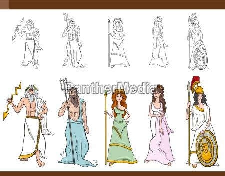 ilustracion de dibujos animados de dioses