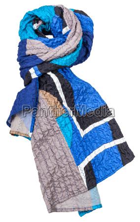 silk patchwork scarf with blue geometric