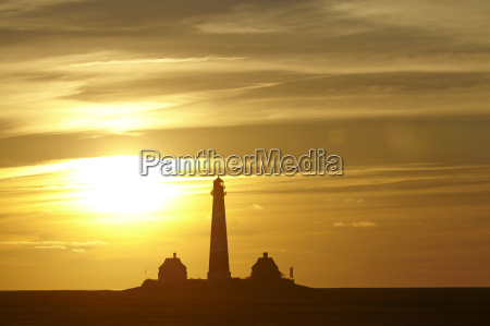 westerhever germany lighthouse at sunset
