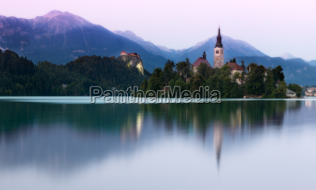 lake bled in evening light slovenia