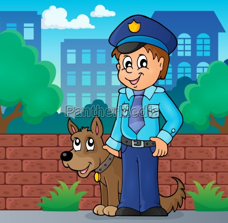 policeman with guard dog image 2