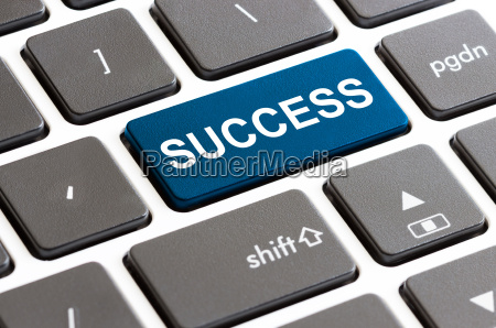 close up success button on keyboard