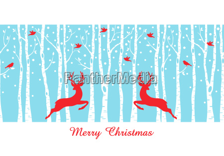 christmas deers in birch tree forest