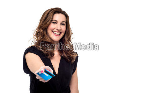 smiling woman offering you a credit