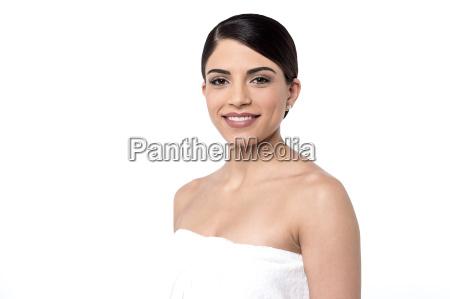 pretty woman in towel