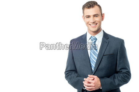 confident business person hands clasped